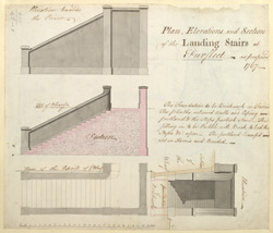 Plan, Elevations and Section of the landing Stairs at Purfleet, as proposed 1767